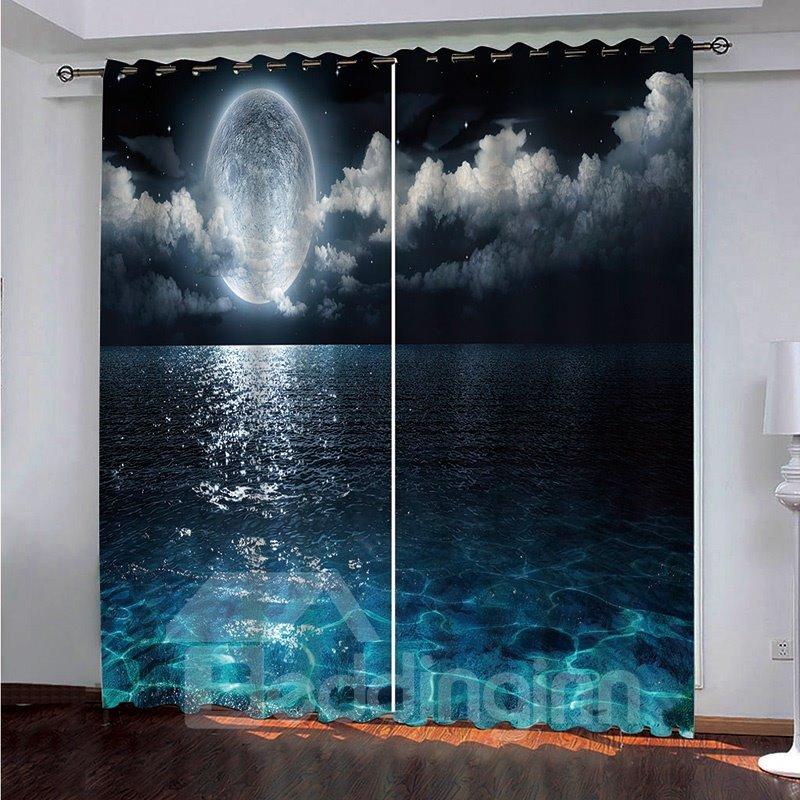 Decoration | Turquoise | Blackout | Curtain | Window | Modern | Cloud | Ocean | Glass | Print | Moon | Full | Sea | 3D