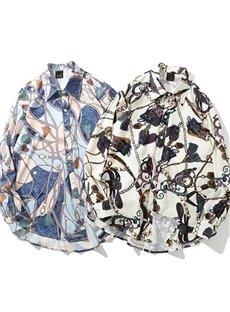 Vintage Style High Quality Beach Hawaiian Casual Long Sleeve Shirt for Woman and Man
