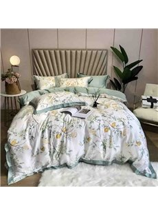 60s High Quality Green Floral Luxury And Healthy 4-Piece Tencel Bedding Sets/Duvet Cover