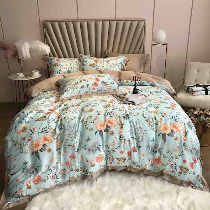 60s Green Floral Healthy 4 Piece Tencel Bedding Sets Duvet Cover Pic