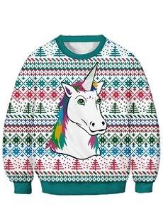 Unisex Kids 3D Printed Hoodies Unicorn Printed Novelty Pullover Hooded Sweatshirts
