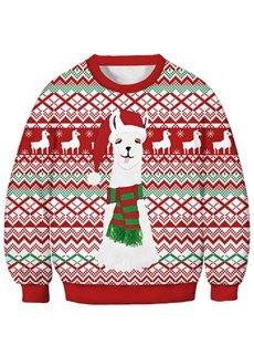 Unisex Kids Christmas Sheep Printed Hoodies 3D Printed Novelty Pullover Hooded Sweatshirts