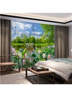 3D Exquisitely Elegant Lotus Printed Decorative 2 Panels Living Room Sheer