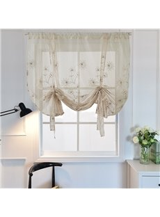 Romantic Modern Decor Floral Embroidery Voile Transparent Roman Shades