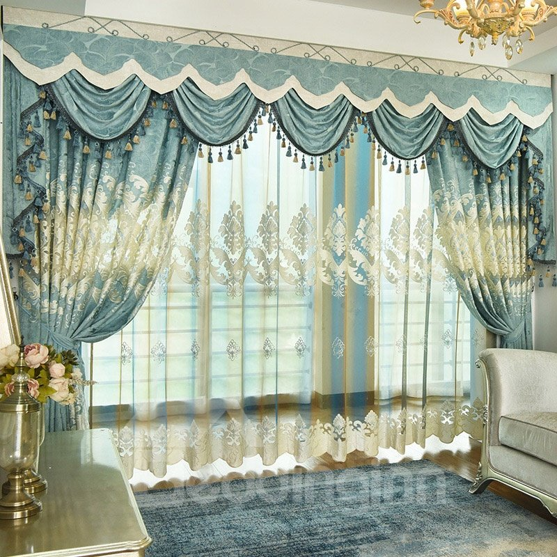Noble Luxuriant Blue Green Chenille Embroidered Blackout Custom Grommet Curtains
