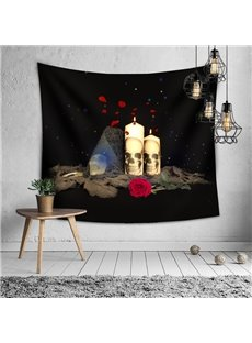 Halloween Romantic Candles With Skeletons on Them Decorative Hanging Wall Tapestry