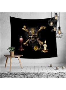 The Skeleton Candles Decorative Hanging Halloween Wall Tapestry