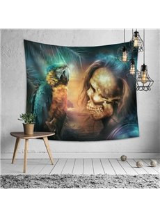 Handsome Skull And Parrot Halloween Decorative Hanging Wall Tapestry