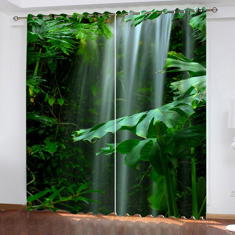 Blackout 3d Scenery Green Eye-protecting Curtains 200 Ã?¡ Thick Polyester Silky Satin Polyester Absolutely Wrinkle-free Integrated Printing Without Ever Fading Cracking Peeling Or Flaking 80w*84l