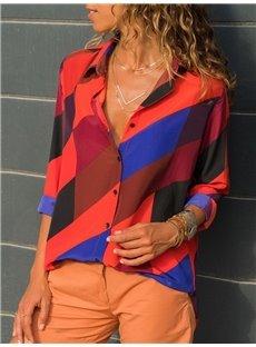 Casual Stripe Comfortable Chiffon Long Sleeve V Neck Women's Blouse Shirts
