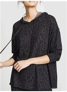 Casual Soft Leopard Print Women's Pullover Long Sleeve Hoodies