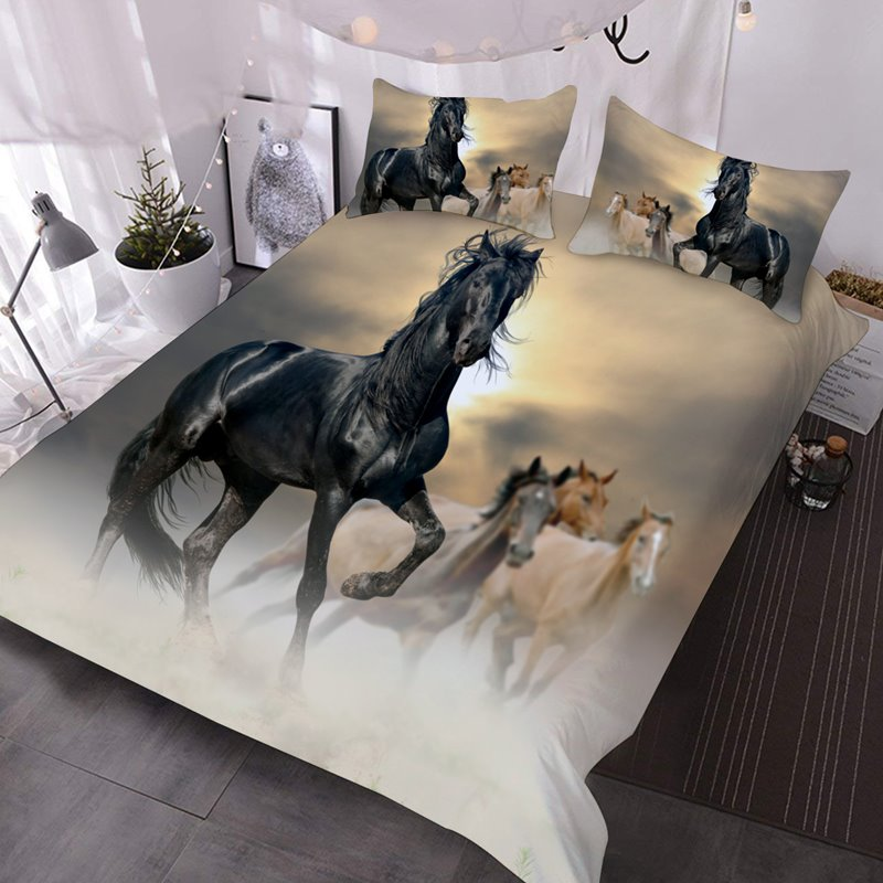 Black Horse 3D Animal Pattern 3-Piece Comforter Sets with 2 Matching Pillow Covers Black Horse 3D Animal Pattern 3-Piece Comforter Sets with 2 Matching Pillow Covers