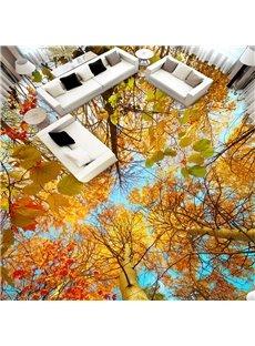 Yellow Leaves of Autumn Self-adhesive Moisture-proof 3D Floor Murals Living Room Bedroom Bathroom Floor Sticker