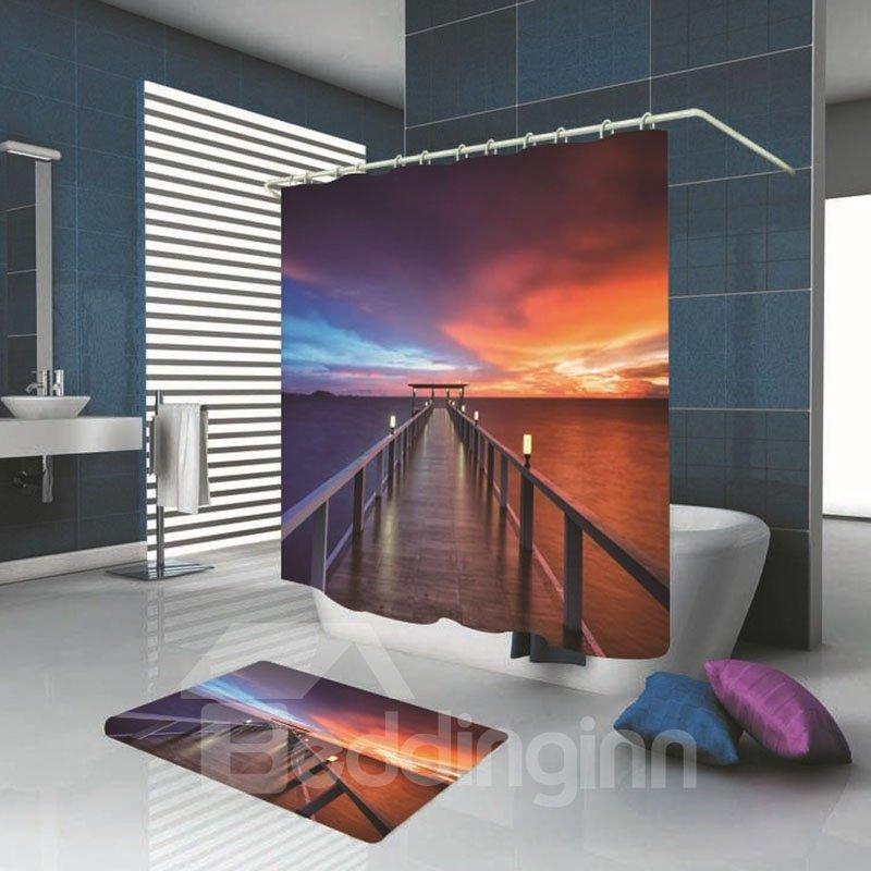 3D Gorgeous Sunset Glow Print Decorative Polyester Bathroom Shower Curtain