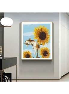 Sunflower and Cat Hand-Painted Pastoral Oil-painting Cartoon Crafts