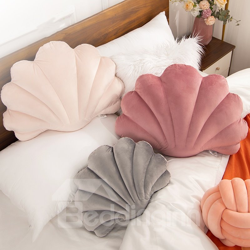 13.8x9.8 Inch Beach Coastal Shell Shape Velvet Pillow Cotton Throw Pillow 5 Colours Bedroom Living Room