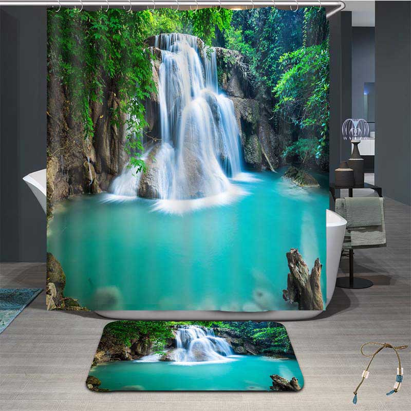 3D Gorgeous Waterfall and Blue Pond Painted Water-proof Decorative Private Bathroom Shower Curtain