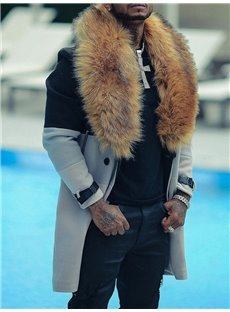 Men's Casual Striped Patchwork Style Winter Trench Coat With Decorative Thick Fur Collar