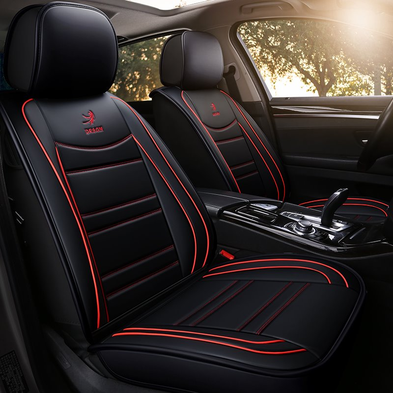 5 Seats Car Seat Covers Full Coverage Waterproof Leather Pic