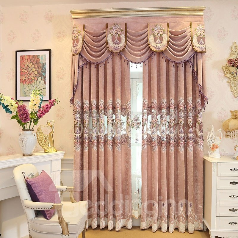 European Hollowed Out Embroidered Thick Chenille Grommet Curtains Pic