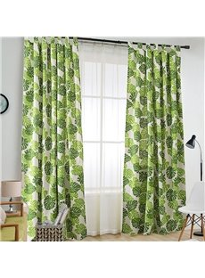 Green Leaves Cartoon Kids Curtain Cotton and Linen Half-shade Curtain Price for 1 Piece