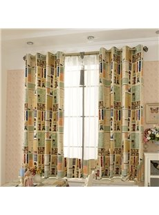 Cartoon Kids Curtain Cotton and Linen Half-shade Perforated Curtain Price for 1 Piece