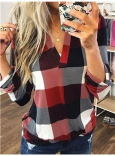 Women's Long-Sleeve Plaid Flannel Shirt Casual V Neck Soft Blouse