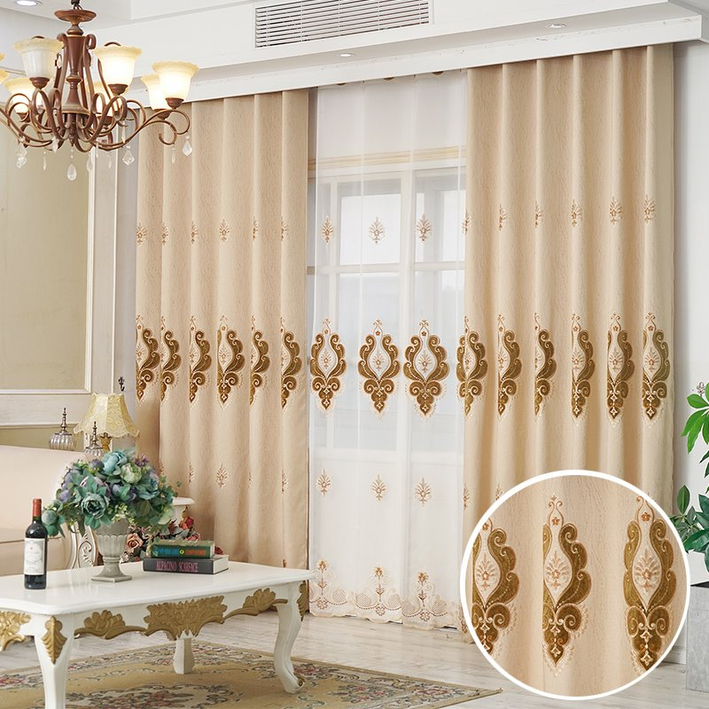 European Elegant Beige Delicate Embroidered Thick Chenille Blackout Custom Grommet Curtains
