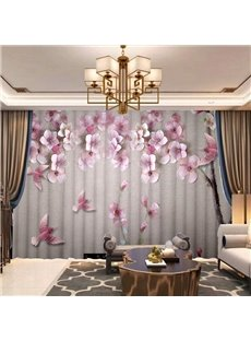 3D Elegant Floral Carved Print Chiffon Breathable Sheer Curtains