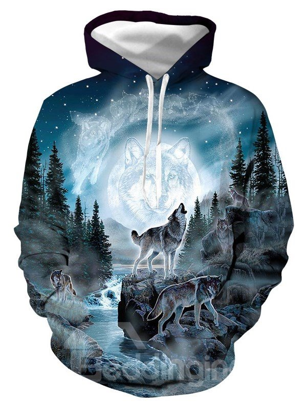 Soft Warm Realistic 3D Digital Print Pullover Hoodies Sweatshirt Sweaters with Moon and Wolf Pattern Soft Warm Realistic 3D Digital Print Pullover Hoodies Sweatshirt Sweaters with Moon and Wolf Pattern