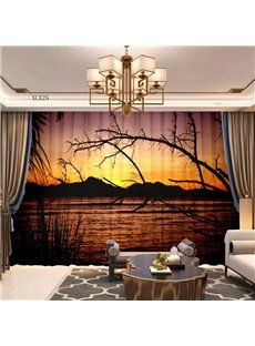 3D Nordic style Soft Chiffon 2 Panels Decorative Sheer with Romantic Sunset View