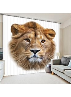 3D Blackout Animal Print Decorative Curtains with Beautiful Lion Pattern
