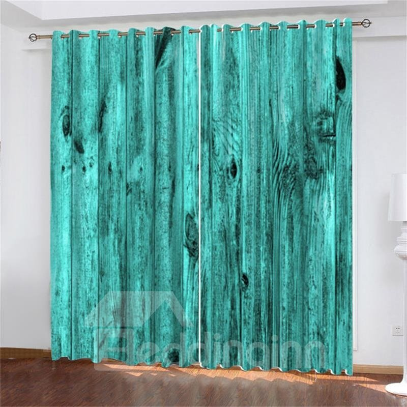 3d Vintage Teal Turquoise Wooden Barn Door Printed Blackout Curtains 200g/mâ² Polyester 70% Shading Rate And Uv Rays Environmentally Friendly Printing And Dyeing No Use Of Chemical Auxiliary