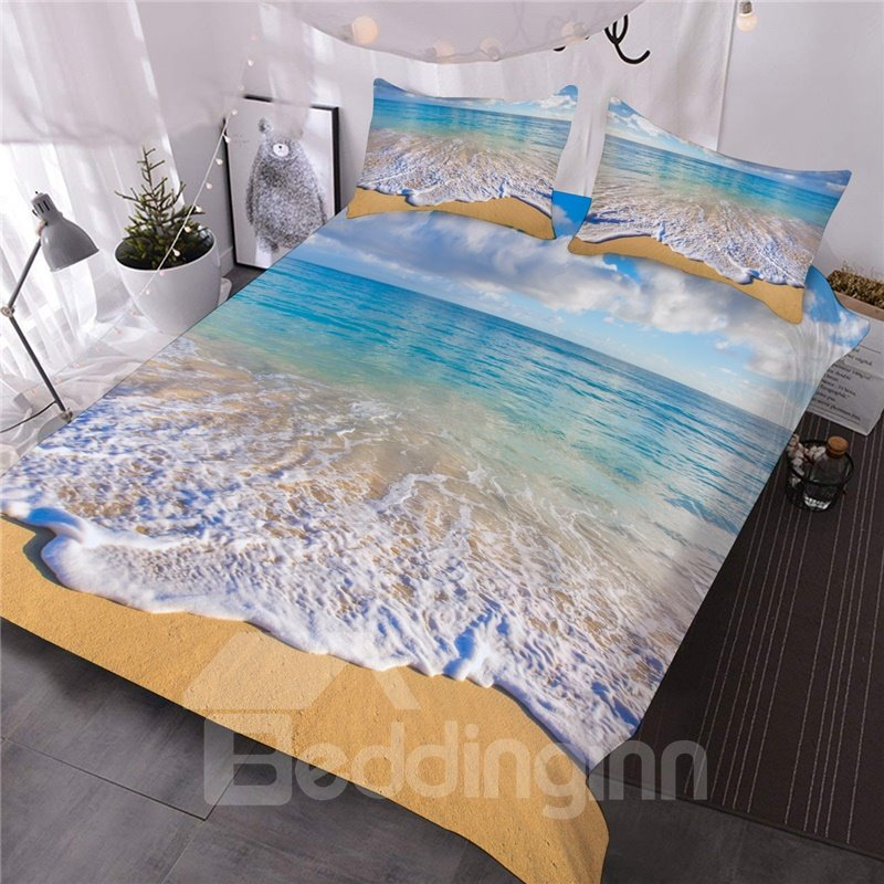3D Coastal Beach Comforter 3-Piece Soft Lightweight Microfiber Comforter Sets with 2 Pillowcases Colorfast Wear-resistant Endurable Skin-friendly All-Season Ultra-soft Microfiber No-fading