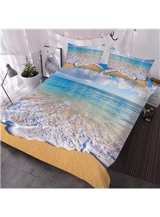 3D Coastal Beach Comforter 3-Piece Soft Comforter Sets with 2 Pillowcases