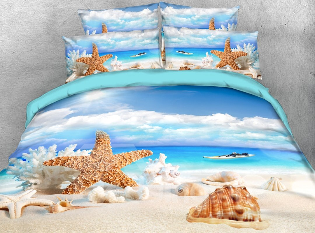 Starfish Shells 3d Beach Scenery Comforter Soft Lightweight Pic