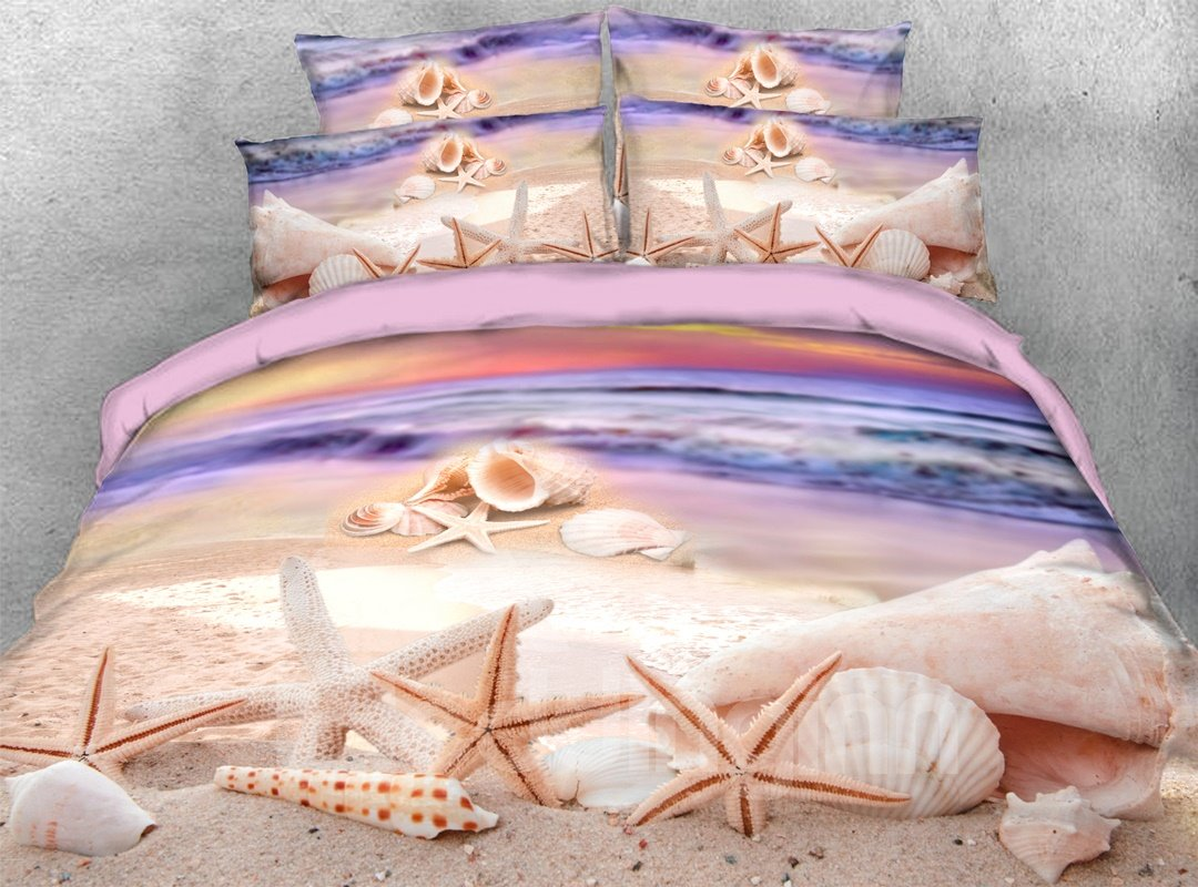 Starfish Shells 3d Purple Beach Scenery Comforter Soft Pic