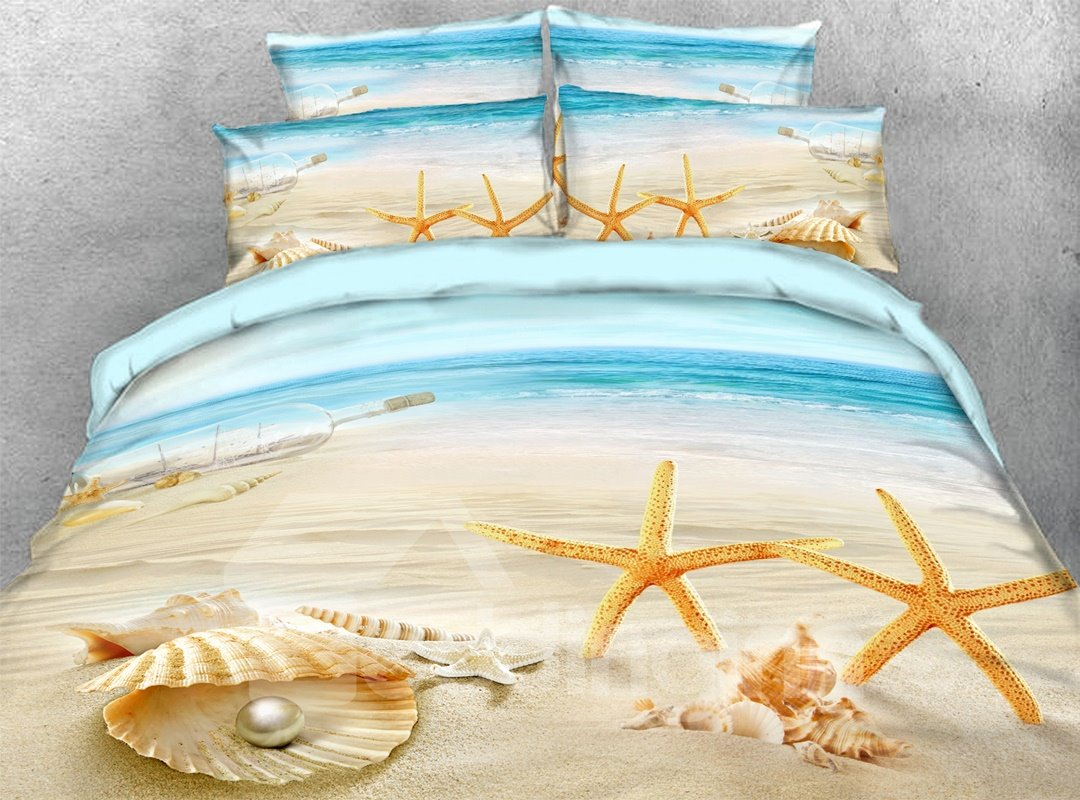 Starfish Shells Pearl 3d Beach Scenery Comforter Soft Pic
