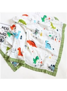 Cartoon Dinosaur Baby Gauze Blanket Bamboo Fiber 4-Layer Soft Baby Towel