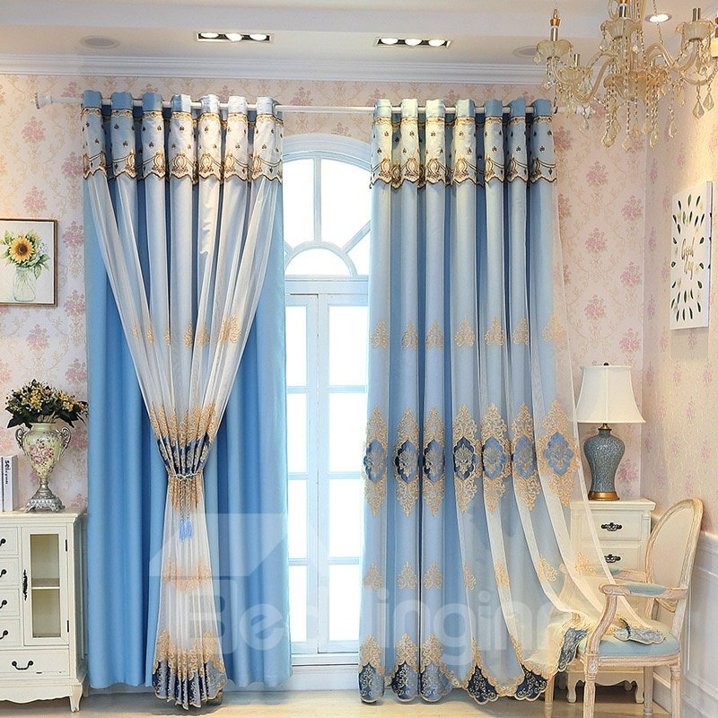 Elegant and Luxury Embroidered Blackout Custom Teal Curtain Sets