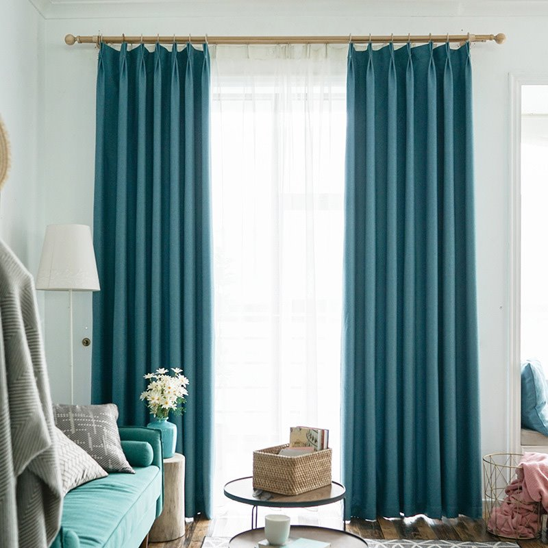 Modern Simple Style Blackout Teal Turquoise Curtains For Living Room Bedroom