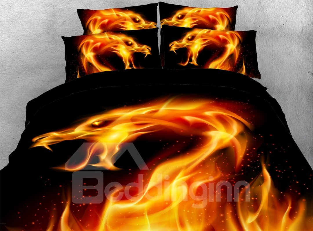 Fire Dragon 3d Warm Comforter Soft Lightweight 5 Piece Pic
