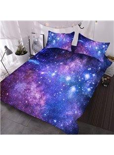 Purple Galaxy 3D Warm Comforter 3-Piece Soft Breeze Comforter Sets with 2 Pillowcases