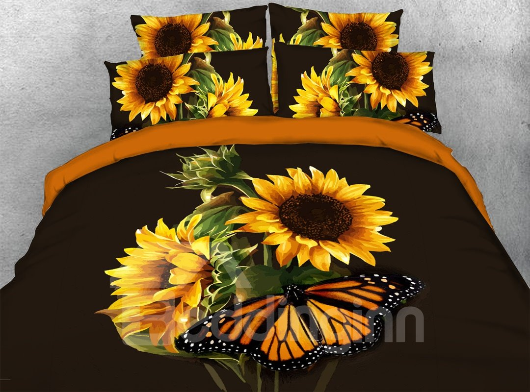 Sunflowers Butterfly 3d Warm Comforter Soft Lightweight Pic