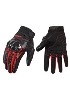 A Pair Breathable Motorcycle Gloves Glass Fiber Shield Fall-Proof All-Finger Gloves