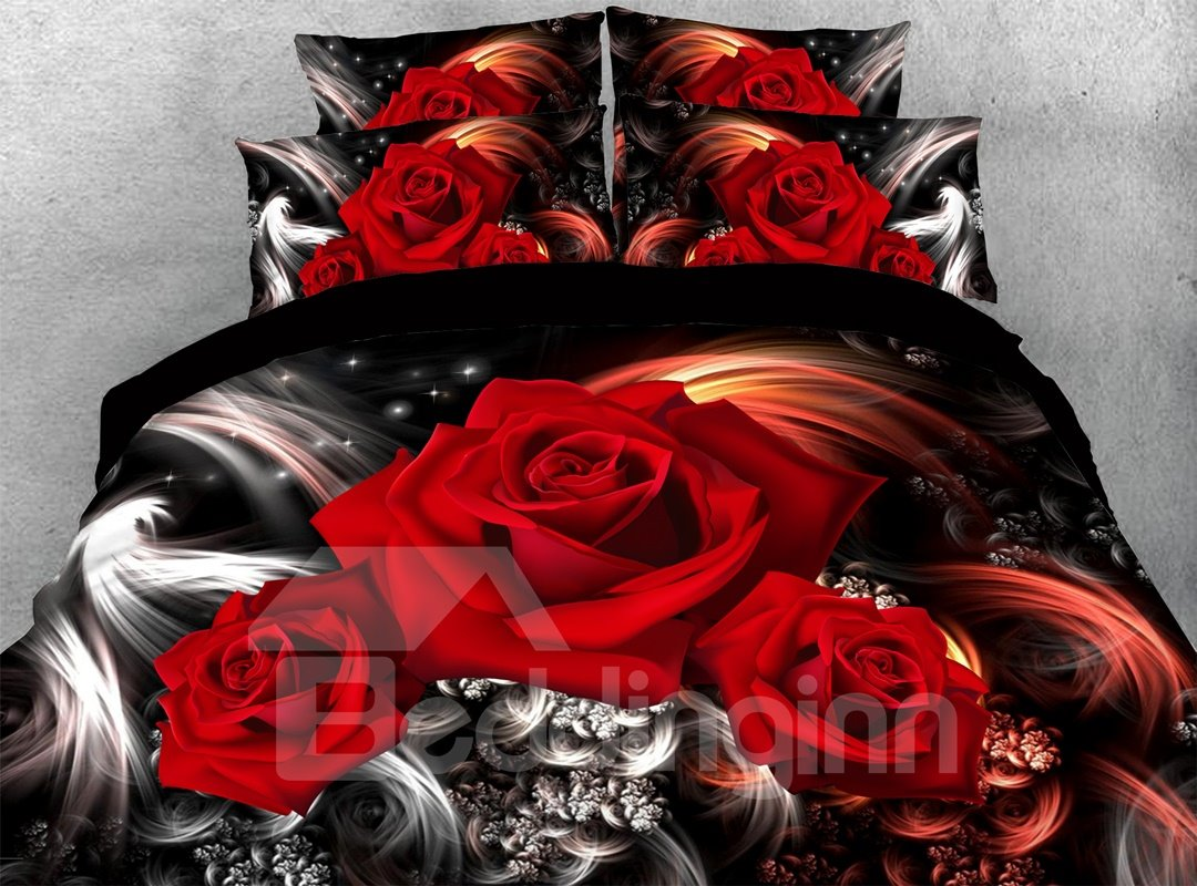 Romantic Red Roses 3d Warm Comforter Soft Lightweight Pic