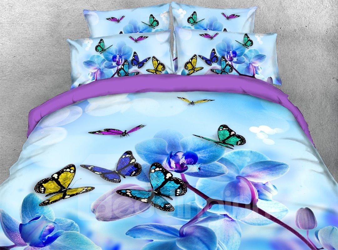 Butterflies Magnolia 3d Warm Comforter Soft Lightweight Pic