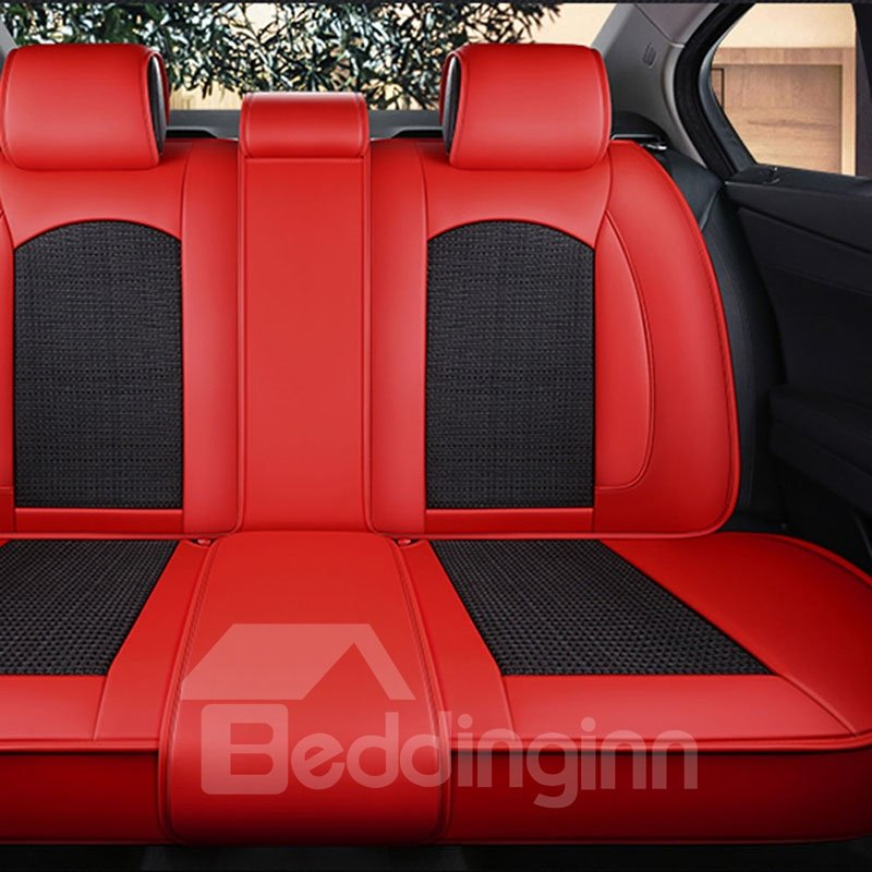 5-seater Wear Resistant Durable Unfading Man-made Leather And Breathable Material Business Style Plain Pattern Truck/ Car Seat Cover