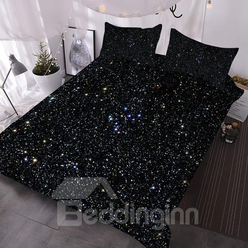 3D Dark Galaxy Mysterious 3Pcs Lightweight Warm Comforter Set with 2 Pillow Shams Three-Piece Set Skin-friendly Endurable Colorfast