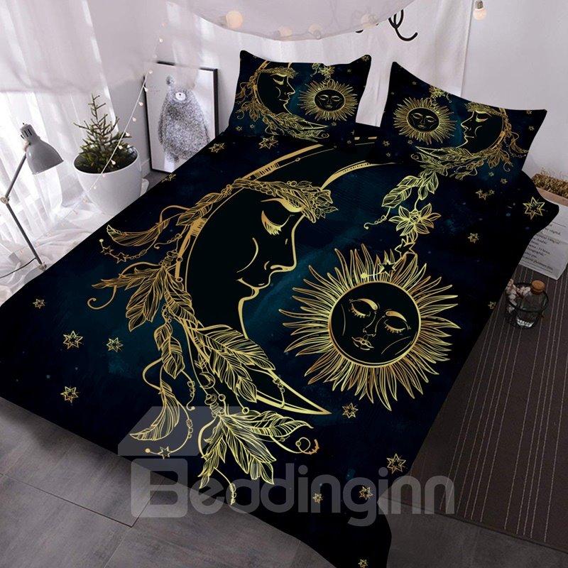 3D Moon and Sun Golden Totem 3Pcs Lightweight Warm Comforter Set with 2 Pillow Shams 3D Moon and Sun Golden Totem 3Pcs Lightweight Warm Comforter Set with 2 Pillow Shams